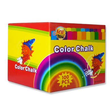New World Coloured Chalk Box of 100