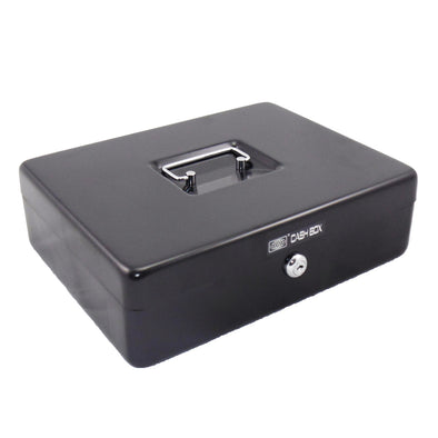 Office Mate Cash Box 12 inch Black with Two Compartments - School Depot