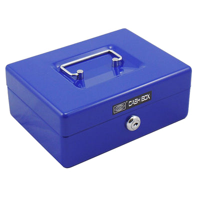 Office Mate Cash Box 8 inch Blue with 2 compartments