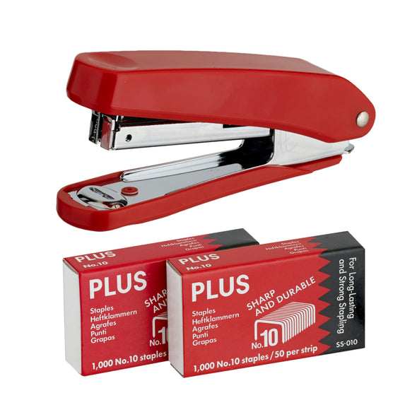 Plus Stapler with 2000 Staples Red - School Depot NZ
