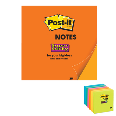 Post-it Sticky Notes Assorted 76 x 76 mm 90 Sheets per Pad