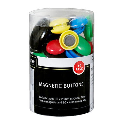 Quartet Magnetic Buttons 50 Pack Assorted Sizes & Colours