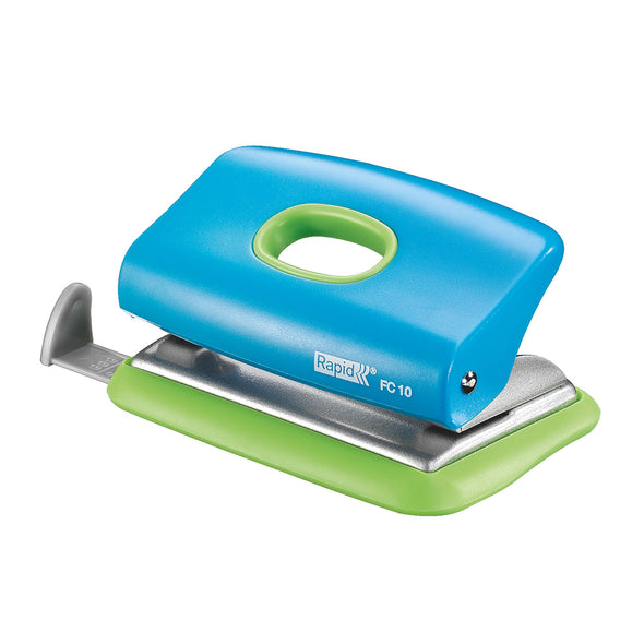 Rapid 2 Hole Punch FC10 Blue/Green 10 Sheet - School Depot NZ