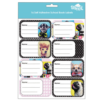 Spencil Self Adhesive Book Labels Pack 16 Woof
