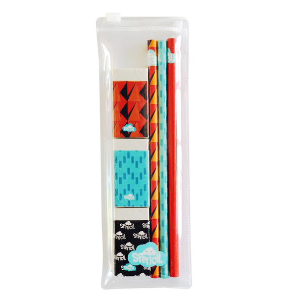 Spencil Pencil and Eraser Set Pack of 6