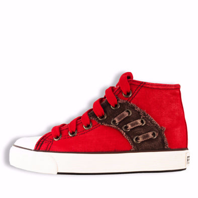 Classic Ankle High Zip & Lace School Shoes Red - School Depot NZ