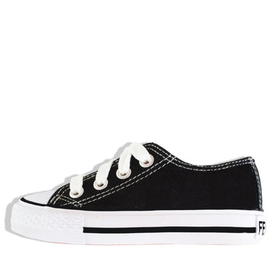 Classic Canvas Zip & Lace School Shoes Black - School Depot NZ
