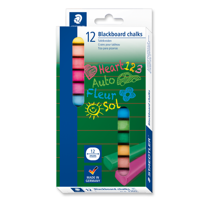 Staedtler Blackboard Chalk Coloured Dust Free Pack 12
