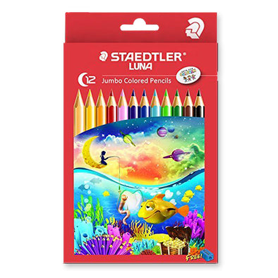Staedtler Luna Jumbo Coloured Pencils with Free Sharpener 12 Pack