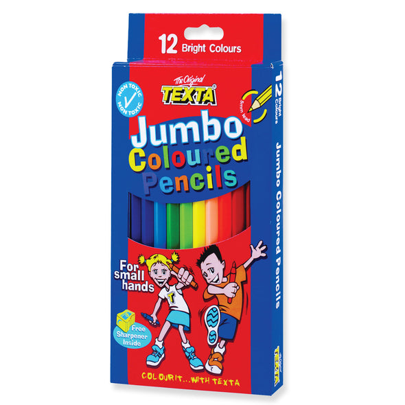 Texta Jumbo Coloured Pencils with Free Sharpener 12 Pack