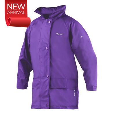 Stilvolle Kids Raincoat 100% Waterproof Hooded Purple Size 4 to 14