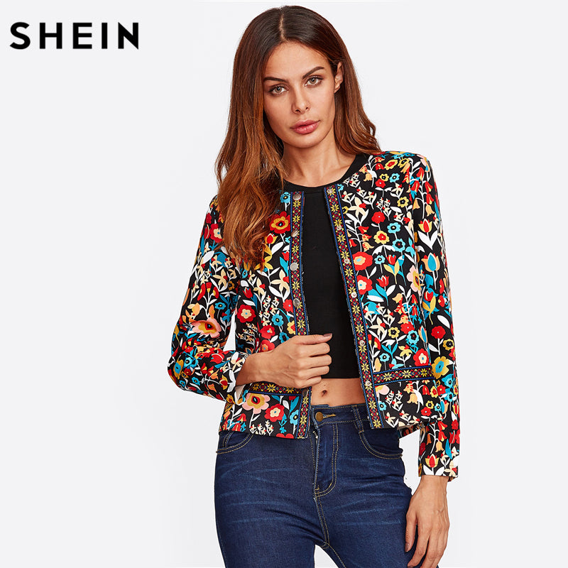 SHEIN Press Button Placket Botanical Jacket Autumn Jacket for Women Multicolor Collarless Single Breasted Elegant Jacket
