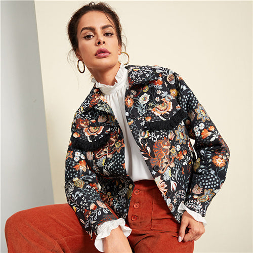 SHEIN Multicolor Elegant Highstreet Pocket And Single Button Up Animal Print Workwear Jacket Autumn Women Streetwear Jackets