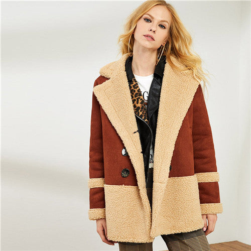 SHEIN Brown Double Breasted Faux Fur Notched Collar Winter Long Women Coats 2018 New Indie Folk Female Warm Straight Outerwear