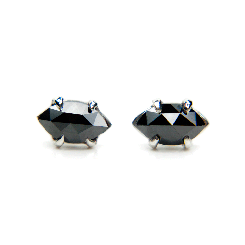 Black diamond stud earrings in 14k white gold hand crafted settings