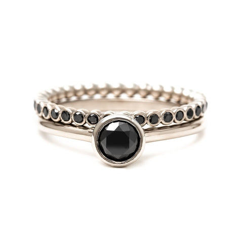Black diamond bridal set | engagement ring + eternity band