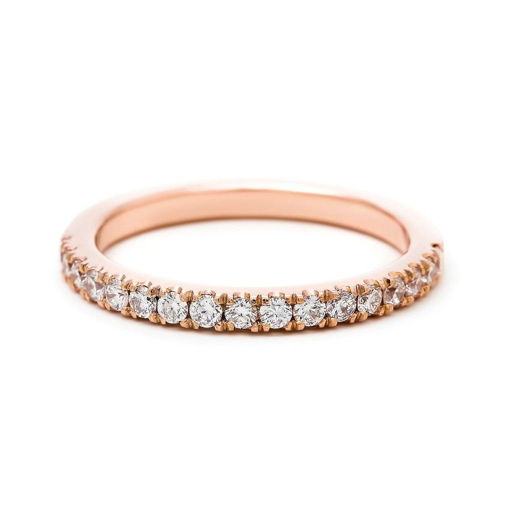 French pavé diamond half eternity ring