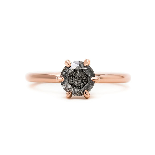 Six prong solitaire ring | Salt & Pepper diamond