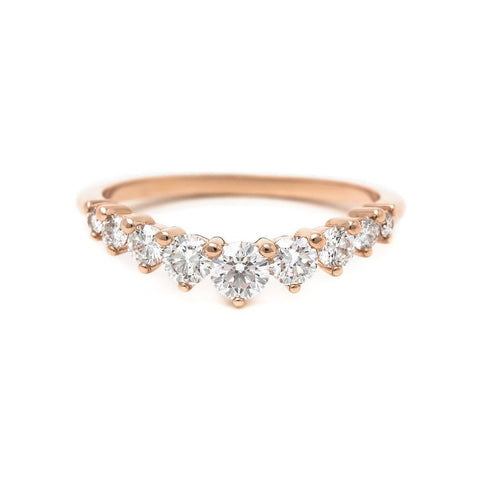 Diamond contour shared prong eternity wedding ring