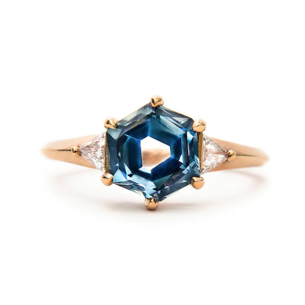 Hexagon sapphire engagement ring