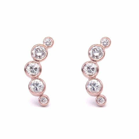 Half moon diamond stud earrings
