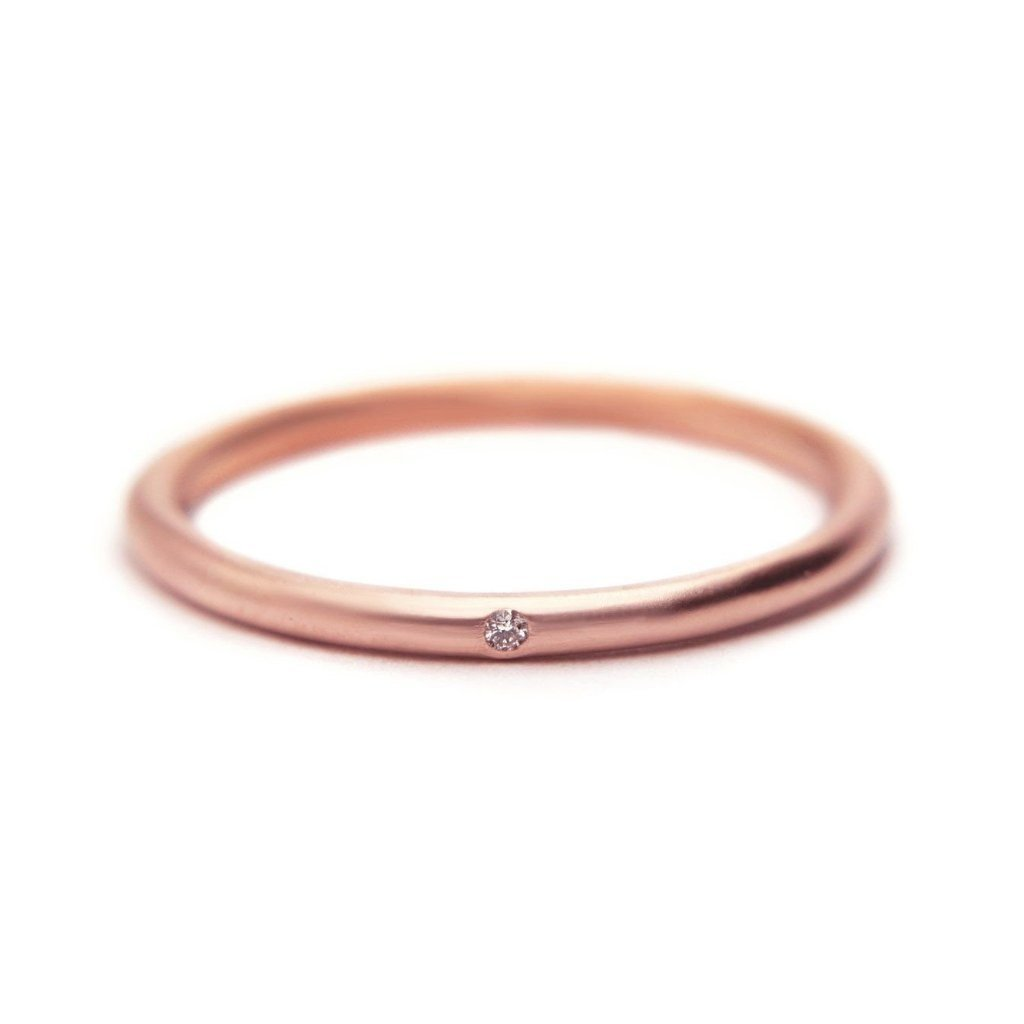 14k rose gold diamond stacking ring by Altana Marie