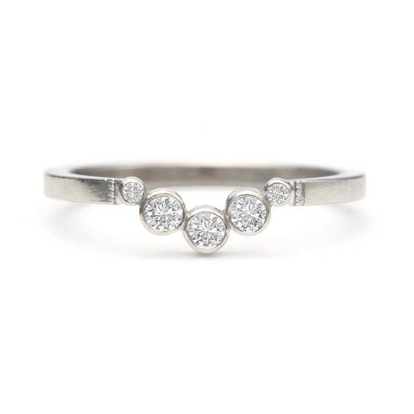 Halfmoon 14k white diamond huggie hugger band thin delicate ring