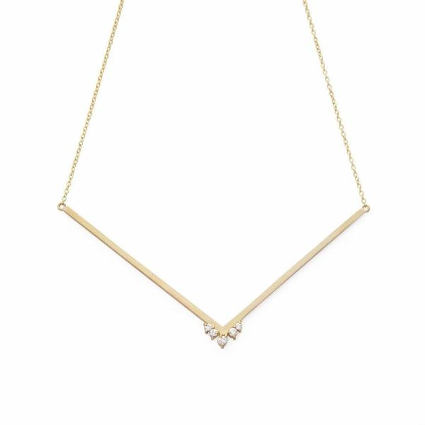 Diamond Cluster Collarbone Duster Necklace Altana Marie