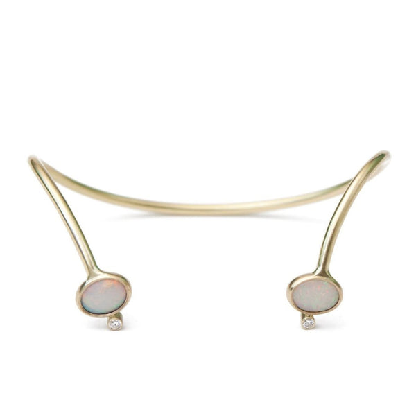 Opal diamond gold cuff open bracelet 18k yellow gold