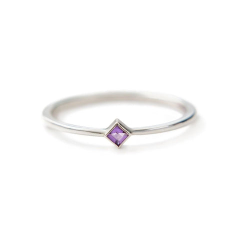 Princess cut diamond ring or pastel gemstone