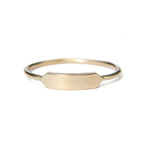 Gold signet ring | modern monogram plate