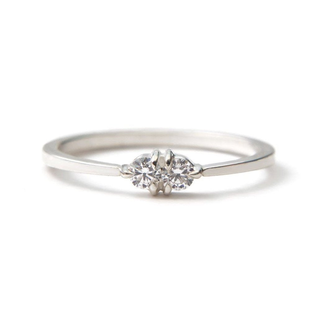 Toi et Moi diamond 14k white gold ring