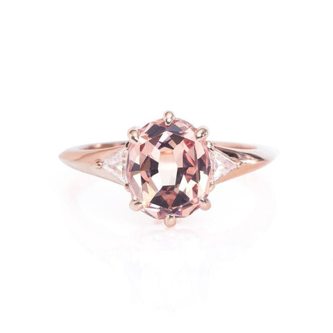 Mahenge garnet rose gold engagement ring triangle diamond accents