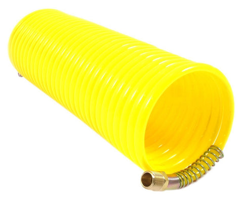 "Yellow 25 Ft 200 PSI Nylon Recoil Air Hose 1/4"" 1/4"" MNPT Swivel Spring End Fittings for Car washes, Semi Trailers, Pneumatic Compressor Tools Industrial Applications"
