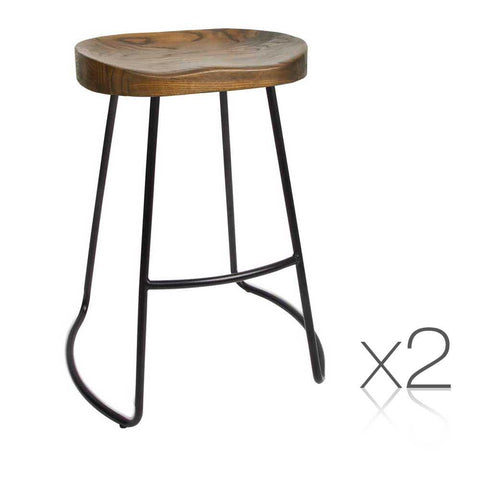 Steel Barstools with Wooden Seat - 65cm (Pair)