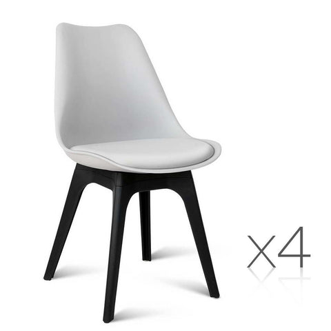 Replica Eames Dining Chair: White Seat/Black Base (Set of 4)