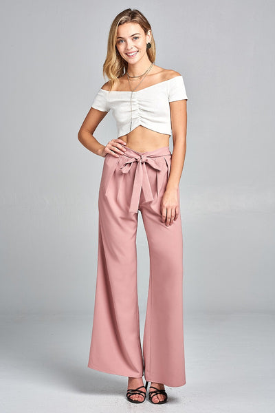 Ladies fashion waist self bow tie long woven pants