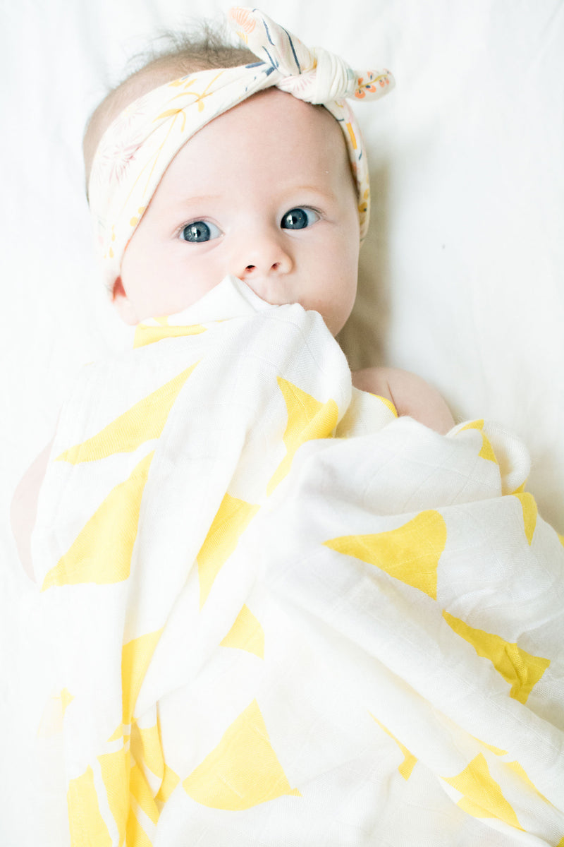 heybaby. Coco in Geo Sun Bamboo swaddle wrap