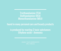 Triethanolamine (TEA), DEA and MEA in skincare