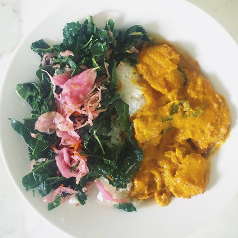kale, Saurkraut and goan fish curry recipe orli natural and organic health and beauty australia