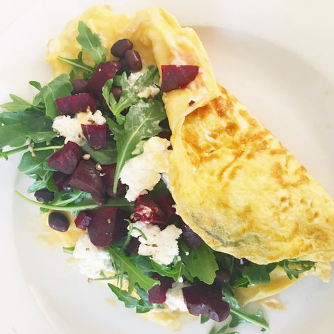 omelette with fresh rocket, beetroot, salted ricotta and black beans healthy eats by orli  natural skincare and beauty australia