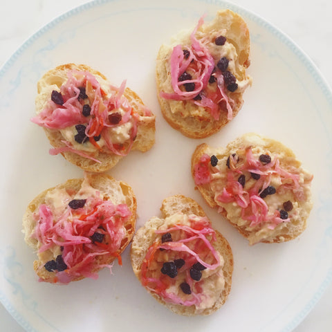healthy hummus snack with saurkraut and currants by orli natural skincare and organic beauty australia