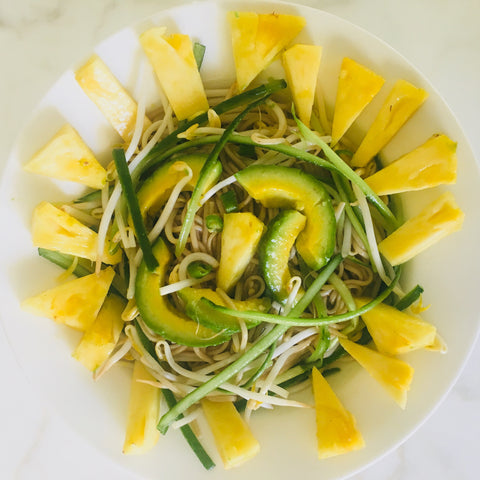 Tropical noodle salad with pineapple avocado and cucumber by orli natural and organic beauty and skincare australia