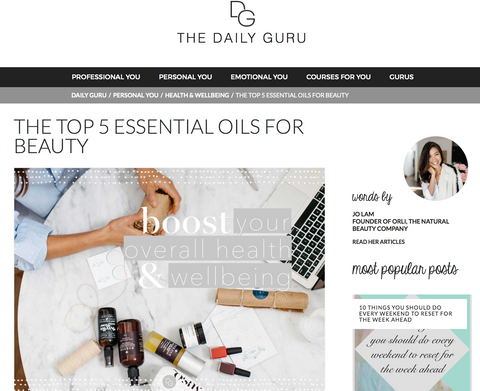 daily guru by orli top 5 essential oils for beauty, orli founder jo lam for the daily guru top 5 essential oils for beauty