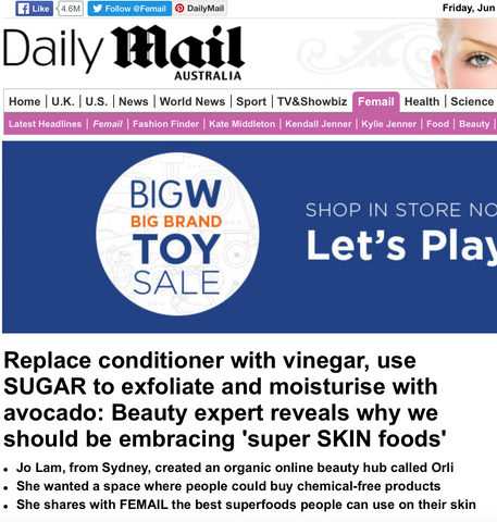 daily mail orli, jo lam orli for daily mail, natural beauty jo lam orli for daily mail, natural skincare jo lam orli for daily mail, face masks jo lam orli for daily mail
