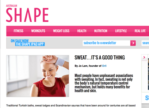 orli for shape magazine on sweat organic and natural skincare and beauty australia