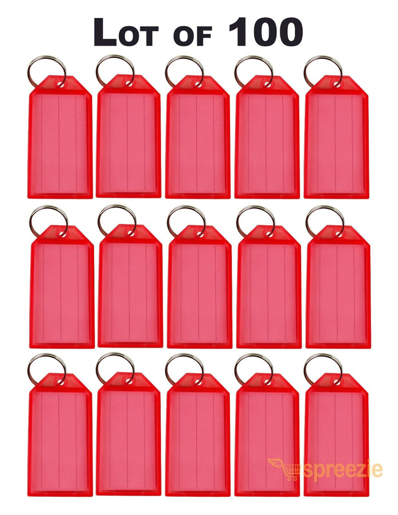 (Lot of 100) Key ID Labels Tags Split Key Ring Key Chain Name Tag Click-It  Red