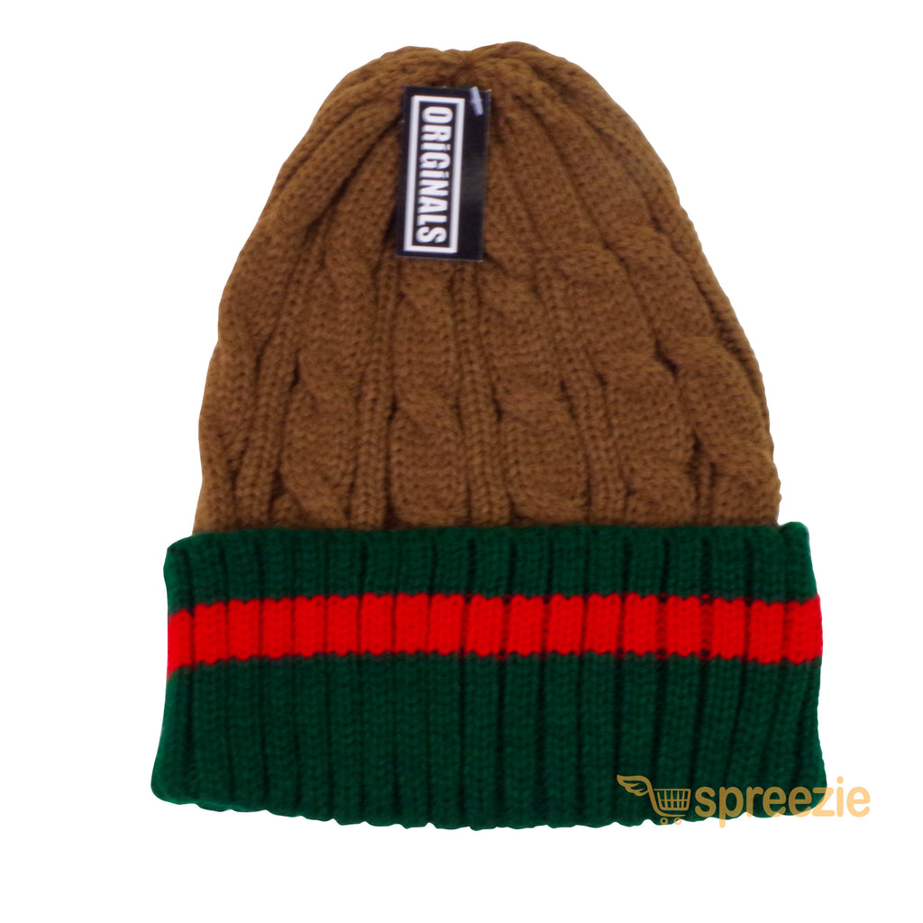 cb9894feb83 Beanie Ribbed Cable Knit Red Green Stripe Cuff Ski Snow Warm Winter Unisex  Beany