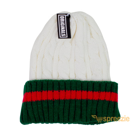 fd0607d0543 ... Beanie Ribbed Cable Knit Red Green Stripe Cuff Ski Snow Warm Winter  Unisex Beany ...