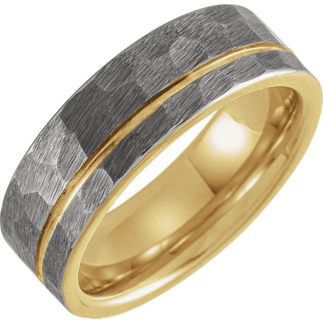 18K Yellow Gold Plated Tungsten Flat Edge Grooved & Hammered 8mm Band - Lyght Jewelers 10040 W Cheyenne Ave Ste 160 Las Vegas NV 89129